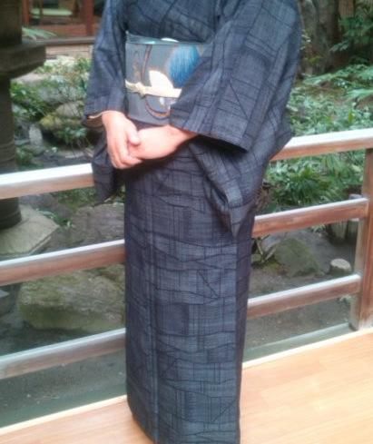 結城紬に掬い袋帯